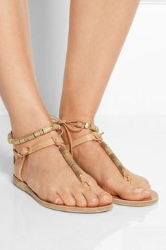 Ancient Greek Sandals - Chrysso Beaded Leather Sandals - Beige - IT41