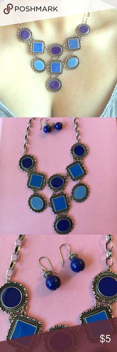 Stunning Blue Statement Necklace and Earrings Set Gorgeous multi-tone blue statement necklace and matching dangling earrings. Make me an offer! :-) Jewelry