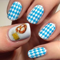 Gotta try the blue & white diamond, maybe just as an accent nail.