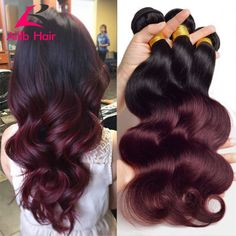 7a Ombre Brazilian Hair Brazilian Body Wave 3pcs Colored Two Tone Hair Weave T1B/Burgundy Ombre Hair Extensions Remy Human Hair