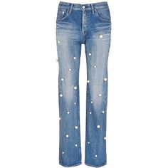 Tu Es Mon Trésor Faux pearl embellished front selvedge jeans ($740) ❤ liked on Polyvore featuring jeans, blue, blue jeans, utility jeans, studded jeans and embellish jeans