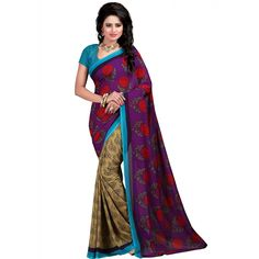 Good-looking Purple Color Premium Gerogette Printed  at just Rs.499/- on www.vendorvilla.com. Cash on Delivery, Easy Returns, Lowest Price.Saree
