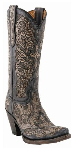Lucchese Charcoal Hand-Tooled Cowboy Boot ♥✤ | Keep the Glamour | BeStayBeautiful
