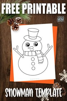 It may not be Olaf or have a real carrot nose, but this free printable large snowman template is a great way to enjoy a fun winter craft! Use it as a traceable activity or build your own by cutting it apart and gluing it to a blank sheet of construction paper. You can even turn this snowman template into an easy coloring activity! Frosty The Snowmen, Cute Snowman, Snowman Crafts, Snowman Cartoon, Snowman Clipart, Snowman Outline, Cartoon Template, Snowman Coloring Pages, Puppet Crafts