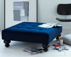 fing love a large tufted ottoman in a bold sexy color Essex Upholstered Ottoman /west elm Blue Ottoman, Upholstered Ottoman, Bedroom Ottoman, Diy Ottoman, Large Ottoman, Ottoman Furniture, Ottoman Table, Diy Bedroom, Bedroom Ideas