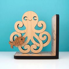 Wood Octopus Bookend: Kids Wooden Ocean Fish Book End. $48.00, via Etsy.