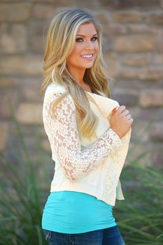 Just In Case Lace Jacket - Cream Take 10% off with discount code repamber and everything will ship for free!:)