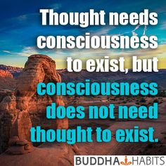 Thought needs consciousness to exist, but consciousness does not need thought to exist. #consciousness #buddha #news #mind #spirituality #love #people #humanity #views #buddhahabits