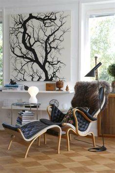 Arne Jacobsens golvlampa och bordslampan från David Design. Tavlan bakom Pernillafåtöljen är ett tyg från Svensk tenn - klassiskt