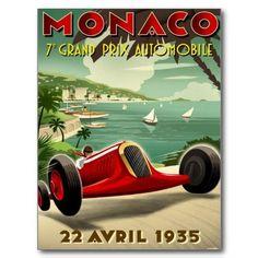 Shop Vintage Monaco Grand Prix Auto Racing Postcard created by hizli_art. Poster Art, Art Deco Posters, Car Posters, Poster Prints, Sports Posters, Art Prints, Vintage Advertisements, Vintage Ads, Green Label