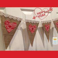 Valentines Burlap Banner Love Banner Heart Banner by QueensBanners