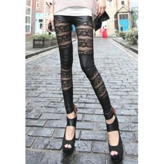 Elastic Waist Lace Splicing Women's Leggings Leggings