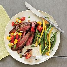 Peppered Flank Steak and Salsa | MyRecipes.com