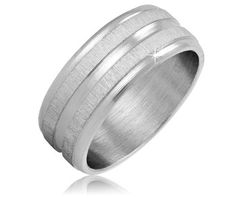 $9.99 - Stainless Steel Silver-Tone Striped Men's Ring