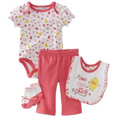 Vitamins Baby-Girls Newborn One Cute Chick 4 Piece Creeper Pant Set ($18) ❤ liked on Polyvore
