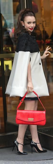 Celebrity street style   Color block cape coat. (BWaldorf style)