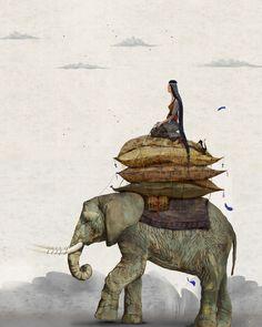 Elephant illustration by Anna Kapustenko Image Elephant, Elephant Love, Elephant Art, African Elephant, Motifs Animal, Wale, Inspiration Art, Children's Book Illustration, Elephant Illustration