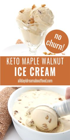 keto ice cream This homemade maple ice cream recipe is keto, sugar-free, and absolutely amazing. Its no-churn and stays scoopable even after days in the freezer! And at less than total carbs, you can afford to indulge in this creamy low carb treat. Healthy Low Carb Recipes, Low Carb Desserts, Keto Recipes, Healthy Food, Dinner Recipes, Maple Ice Cream Recipe, Ice Cream Recipes, Biscuits Keto, Keto Eis