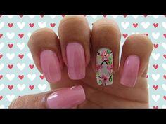 Unhas Decoradas Rosa e Azul Claro com Florzinhas - YouTube