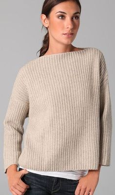 VINCE Chunky Boatneck Sweater Yak Wool Oversized Ribbed Knit Slouchy Oatmeal L #Vince #BoatNeck