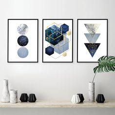 42 New Ideas Home Art Decoration Etsy Gold Wall Decor, Wall Art Decor, Abstract Geometric Art, Geometric Prints, Geometric Decor, Art Minimaliste, Gold Walls, Gold Art, Wall Art Sets
