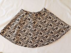 Womens FORA Mini Skirt A-Line Small Creme Black Velvet Floral Party Skirt #FORA #ALine