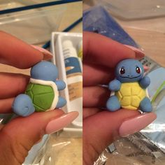 Shiny squirtle I made out of polymer clay & painted on the face with acrylic…
