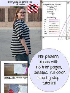 Everyday Elegance Top Tunic Sewing PDF by PatternsforPirates women's shirt blouse diy