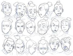 Drawing Facial Expression Expression study, courtesy of Sokka from Avatar: The Last Airbender - animation is a good fallback because the rubbery faces make them more obvious - Character Design Cartoon, Character Sketches, Character Design References, Character Drawing, Character Concept, Concept Art, Character Sheet, Character Illustration, Drawing Tutorials