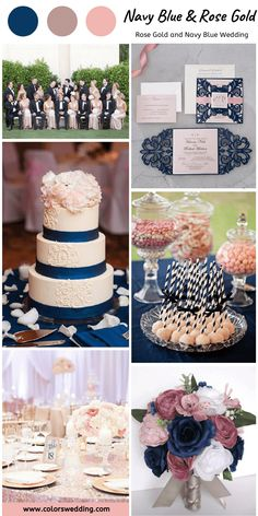 Best 8 Rose Gold and Navy Blue Wedding Color Ideas Elegant + Rose Gold + Navy Blue Wedding: rose gold bridesmaid dresses, navy blue groom's attires, bouquets and invitations, rose gold table decorations, white cake with navy blue ribbons. Navy Blue Wedding Theme, Blue And Blush Wedding, Blue White Weddings, Gold Bridesmaid Dresses, Dusty Rose Wedding, Gold Bridesmaids, Wedding Themes, Wedding Decorations, Table Decorations