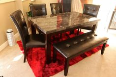 Uptown Faux Marble Top Dining Table with 4 Chairs and Bench - Colleen's Classic Consignment, Las Vegas, NV www.colleenconsign.com