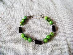 Akunin bracelet. Jade, onyx and silver.