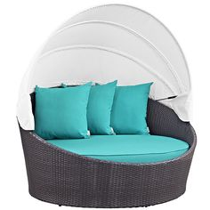 Outdoor Patio Daybed With Adjustable Canopy & Pillows Only 10 In Stock Order Today! Product Description: Gather stages of sensitivity with the Convene outdoor sectional series. Made with a synthetic r