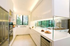 semi open-plan kitchen design, aesthetically pleasing yet functional. Sliding glass panels can close up the kitchen to avoid smoke and smells from escaping in a small home Closed Kitchen Design, Open Kitchen Layouts, Kitchen Layout Plans, Galley Kitchen Design, Open Plan Kitchen, Interior Design Kitchen, Kitchen Pass, Kitchen Ideas, Kitchen Oven