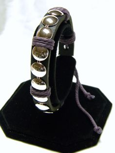 Black Leather Wristband with Wafers by CreationsbyDreamLady, $5.00