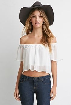 Off-the-Shoulder Flutter-Sleeve Crop Top from Forever Saved to Forever Crop Top Outfits, Girly Outfits, Modern Outfits, Cute Outfits, Off Shoulder Crop Top, Cute Crop Tops, Henley Top, Flutter Sleeve, Ruffle Sleeve