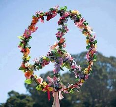 Peace Sign made with Flowers