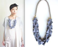 Origami Hana Rope Necklace   Blue Gray by HOMAKO on Etsy, $60.00