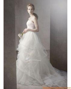 elegante schöne weiße Brautkleider aus Organza rückenfreie Mode