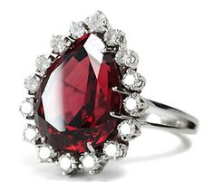 Pear Shaped Garnet Diamond Ring