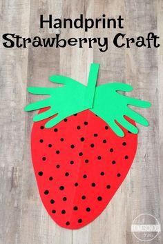 Strawberry Hand Art Craft for kids - this is such a cute summer craft for toddler, preschool, prek, and kindergarten age kids. Such a darling keepsake
