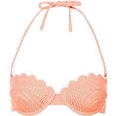 TOPSHOP Tangerine Scallop Bikini Top ($26) ❤ liked on Polyvore featuring swimwear, bikinis, bikini tops, swimsuits, bathing suits, swim, tangerine, swimsuits bikinis, bikini swimsuit and scalloped bikini top