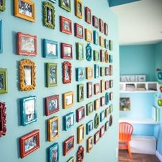 fun! a million colorful little frames for gallery wall.