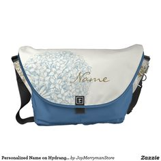 Personalized Name on Hydrangea Courier Bags,Artwork designed by JoyMerrymanStore