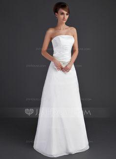 Wedding Dresses - $158.99 - A-Line/Princess Strapless Floor-Length Taffeta Wedding Dress With Ruffle Beadwork (002001666) http://jjshouse.com/A-Line-Princess-Strapless-Floor-Length-Taffeta-Wedding-Dress-With-Ruffle-Beadwork-002001666-g1666