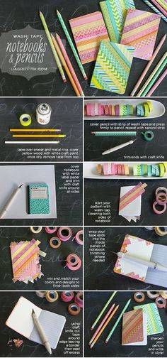 {DIY Washi Tape Makeovers for Pencils and Notebooks}
