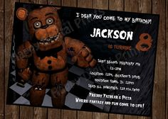 Birthday List 10th Ideas Five Nights At Freddys Craft Party Fnaf Gifts Invitations Fiesta