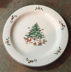 Ming Pao Woodland Christmas Collectible Dinner Plate, Holiday Platter, 1980s, bunnies, squirrels, birds decorating a snow covered Christmas Tree!  DanushasCollectibles vintage Etsy Shop