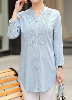 29 Lace Blouses To Add To Your Wardrobe #blouse  #lace  #tunic  #linen Kurta Designs, Tunic Designs, Casual Tops For Women, Blouses For Women, Women's Blouses, Tunics, Womens Vintage Tees, Hijab Stile, Women's Athletic Leggings