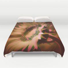 Painterly Glowing Sunflower Duvet Covers by Judy Palkimas